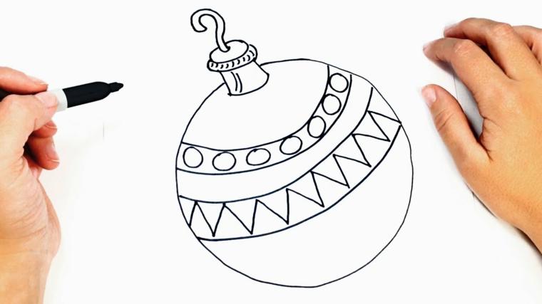 Uomo che disegna una pallina, palla natalizia con ornamenti, disegno per bambini da colorare