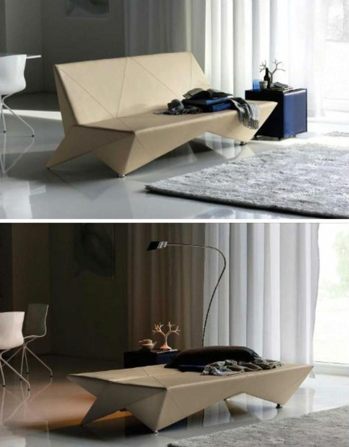 Mobili fai da te con il cartone, soggiorno arredato con un divano e tavolino