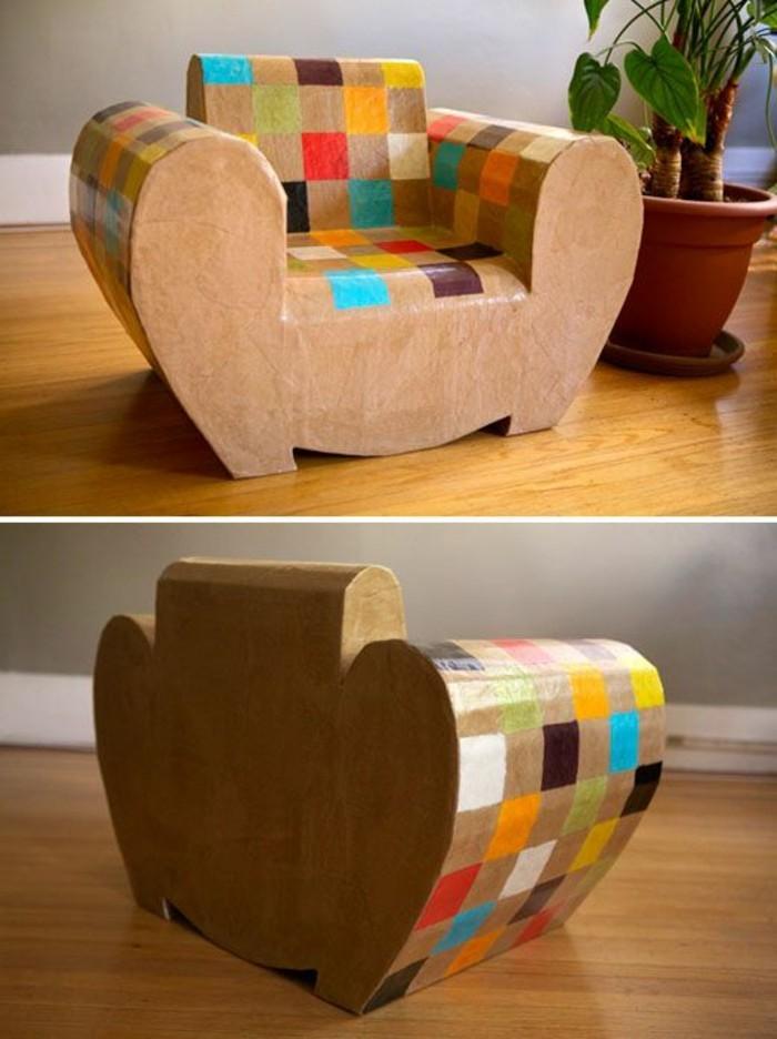 Come costruire un mobile di cartone e una poltrona dipinta con vari colori