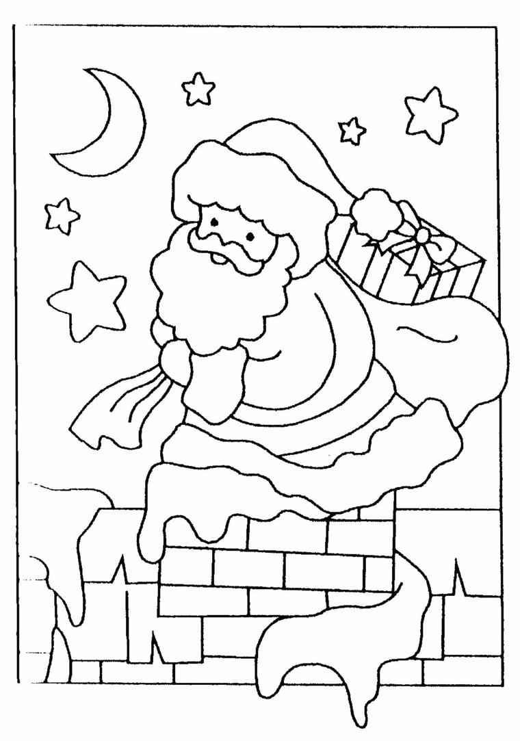 Disegni di Babbo Natale da colorare, regali incartati, cielo con stelle e luna