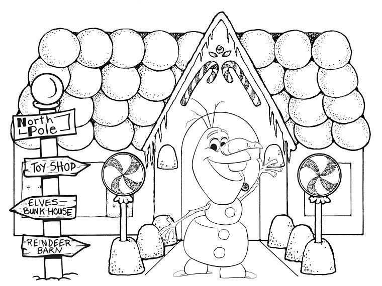 Olaf pupazzo di neve, disegni di Natale da colorare, casa con cartelli direzionali