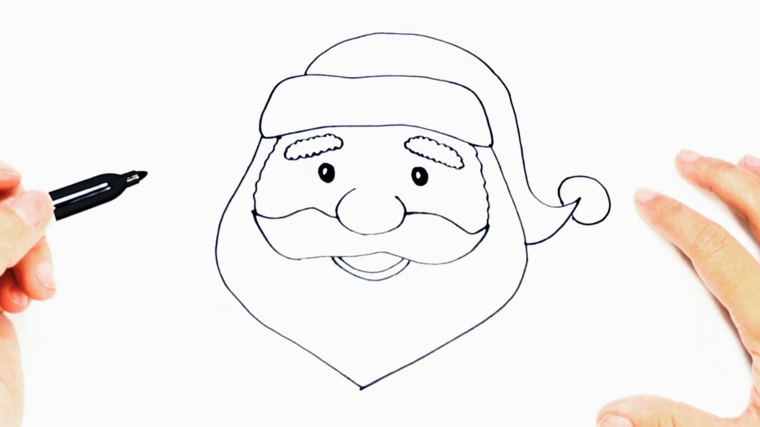 Disegni di Babbo Natale da colorare, il viso del Babbo con barba e cappello, pennarello nero