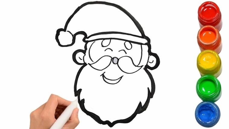 Barattoli con colori acrilici, disegni da copiare, Babbo Natale con cappello e barba
