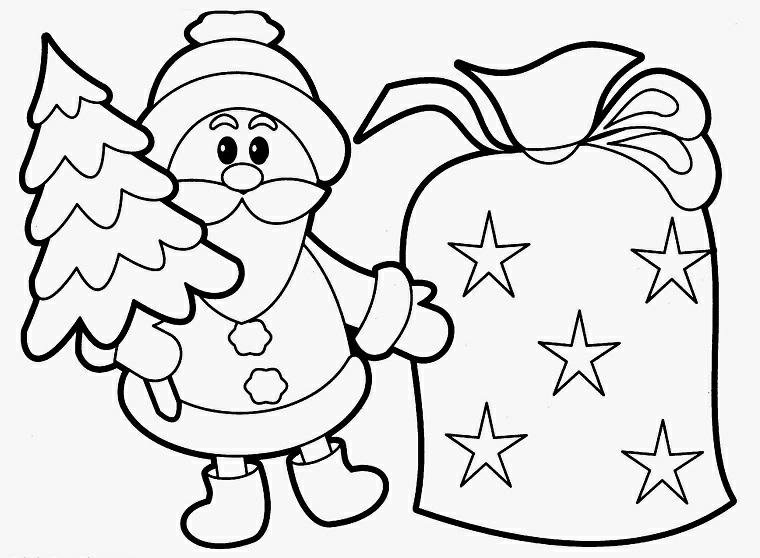 Babbo Natale con un albero in mano, disegni da copiare, campanella natalizia con stelle