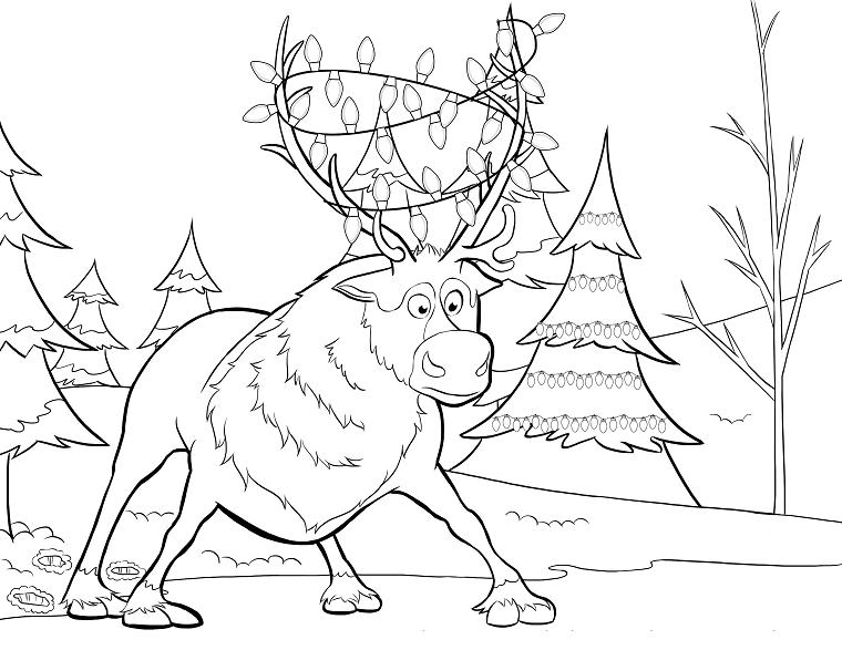 Renna da colorare, disegno a matita da colorare, foresta con neve e alberi
