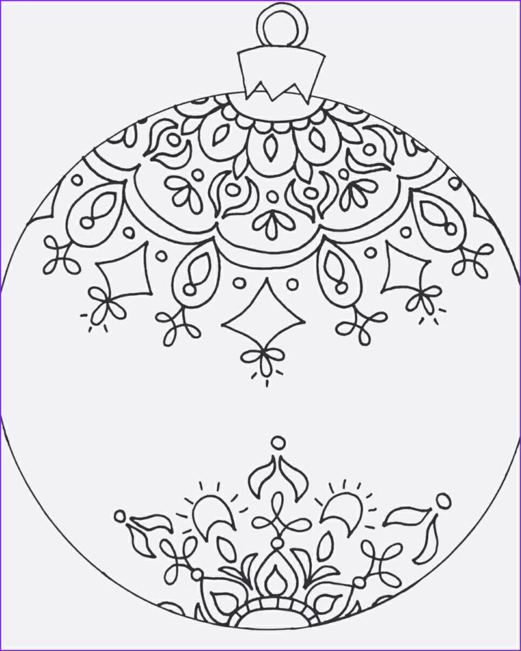 Immagini natalizie da colorare, palla con disegni mandala, ornamento con disegni