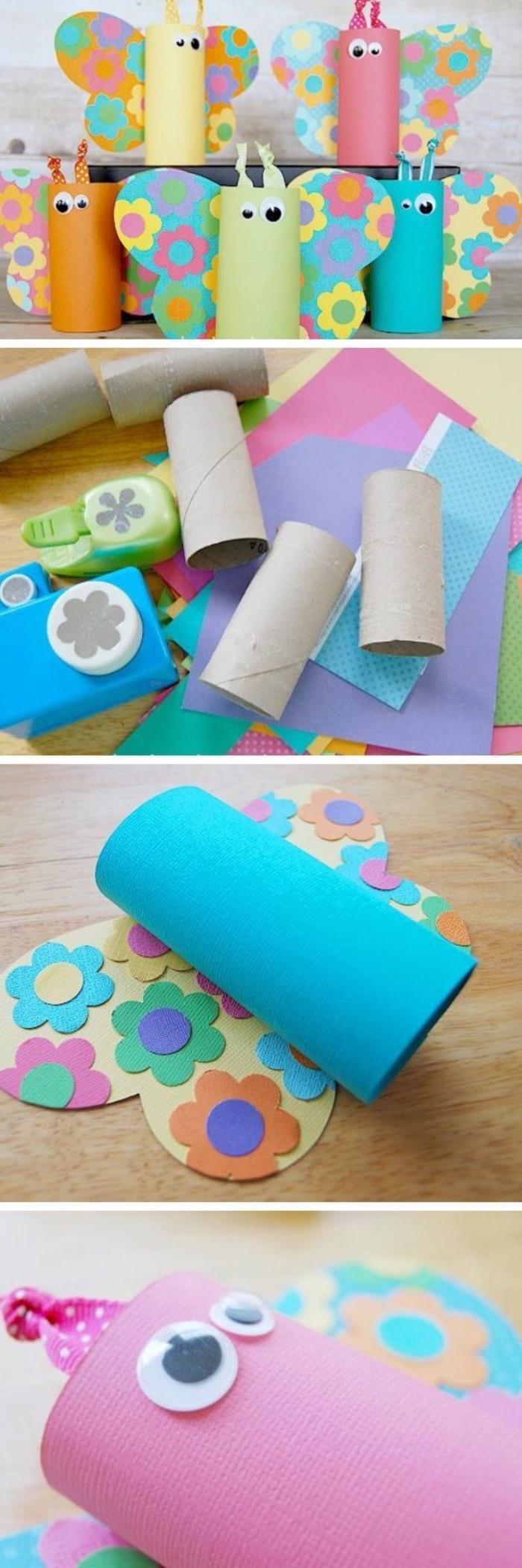 Un'idea per dei lavoretti estivi con i rotoli di carta igienica per creare delle farfalle