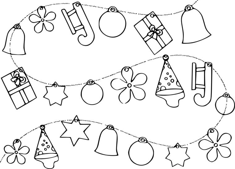 Disegni di Natale da colorare, ghirlanda con ornamenti, stelle e campanelle natalizie