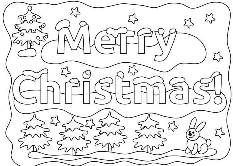 Biglietti di Natale da colorare, scritta Merry Christmas, alberi natalizi con neve