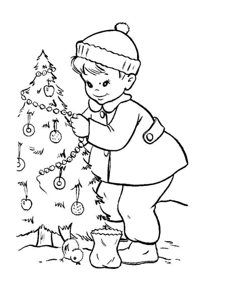 Bambino che addobba l'albero, disegni da copiare, pulcino con sacco