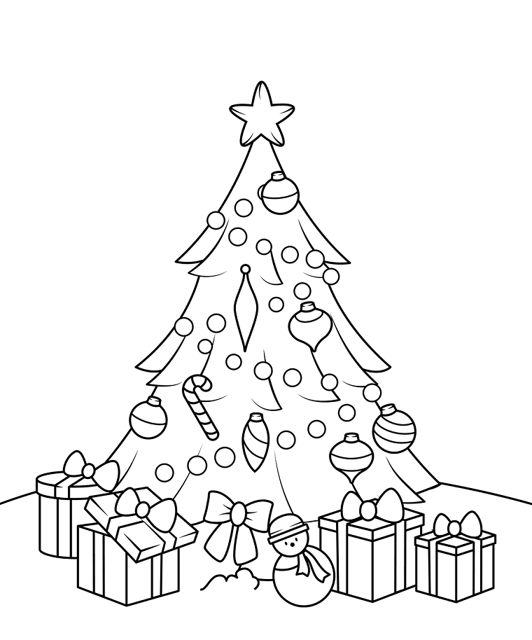 Albero di Natale con addobbi, regali natalizi con fiocchi, disegni da stampare