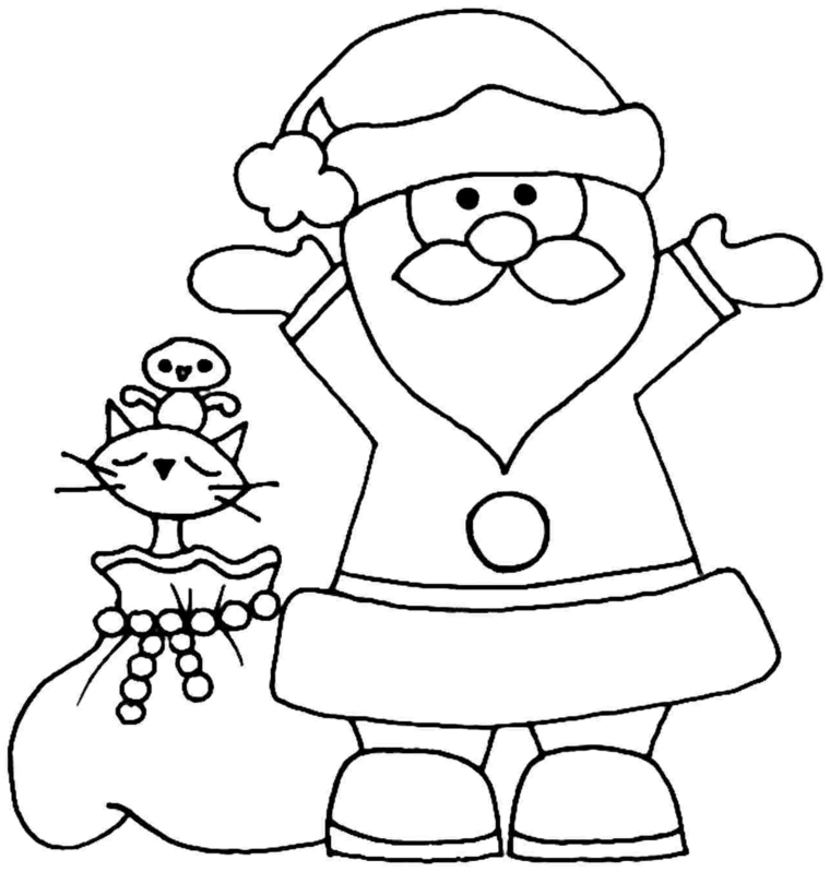 Il sacco di Babbo Natale con giocattoli, disegno a matita da colorare