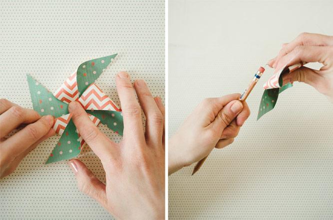 Laboratori creativi per bambini e un'idea per fare delle girandole di carta