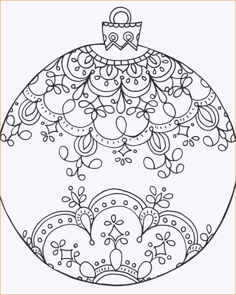 Disegni da stampare, palla rotonda con disegni mandala, pallina natalizia da colorare
