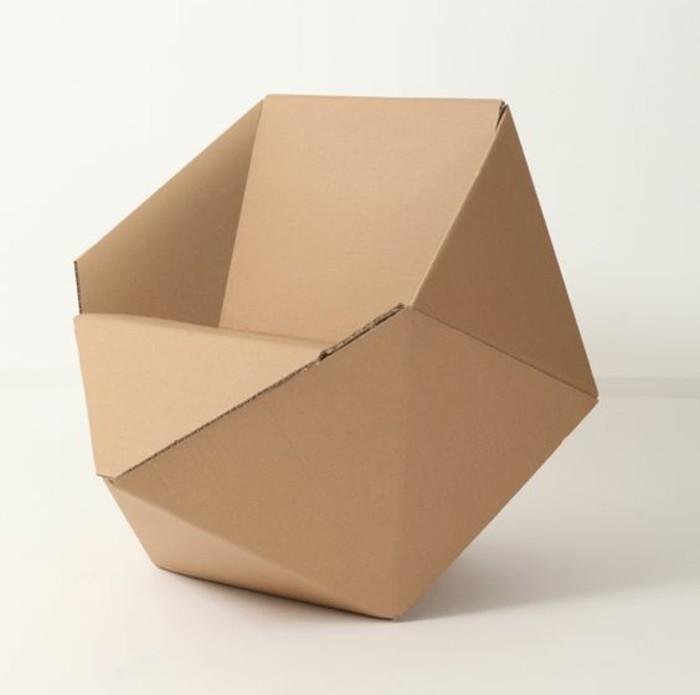 Idea per dei mobili fai da te con il cartone, poltrona di design per il salotto