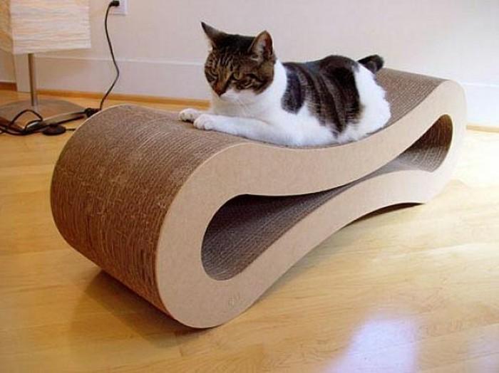 Mobili in cartone con il fai da te, una sedia per il gatto
