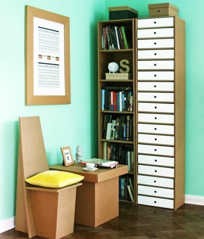 Idea per dei mobili in cartone con sedia e tavolino, arredo con due librerie