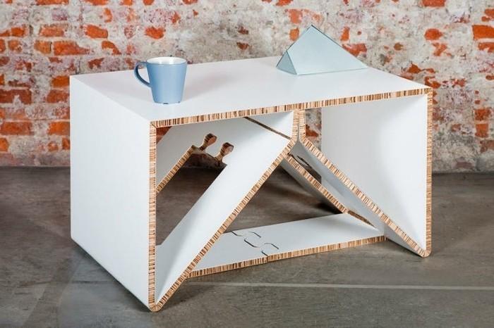 Idea per dei mobili fai da te di cartone, tavolino basso di colore bianco
