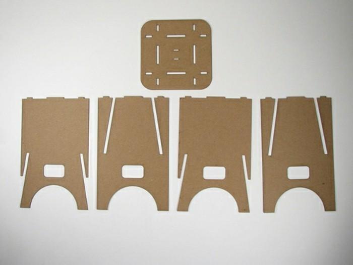 Mobili di design per la casa, gli elementi di cartone per costruire una sedia