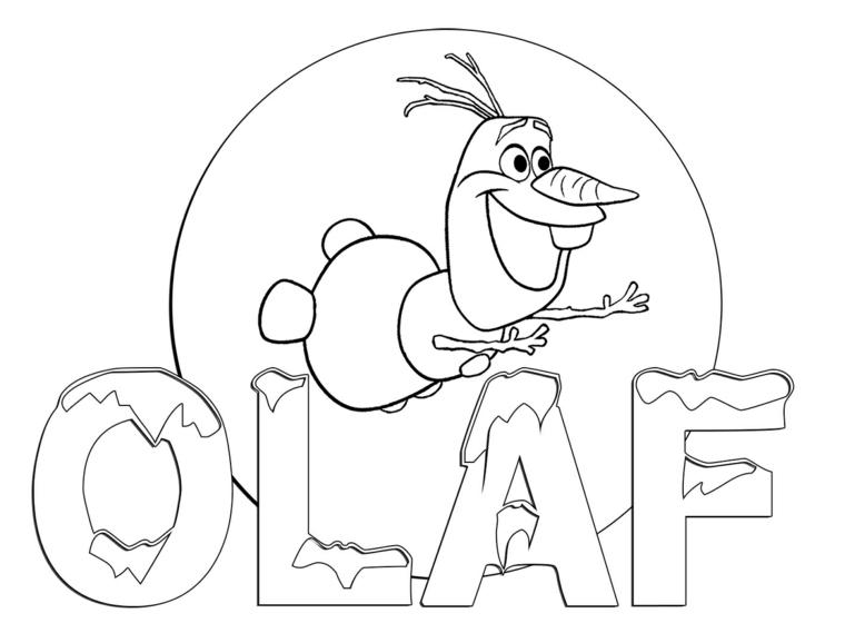 Biglietti di Natale da colorare, pupazzo di neve Olaf con naso di carota