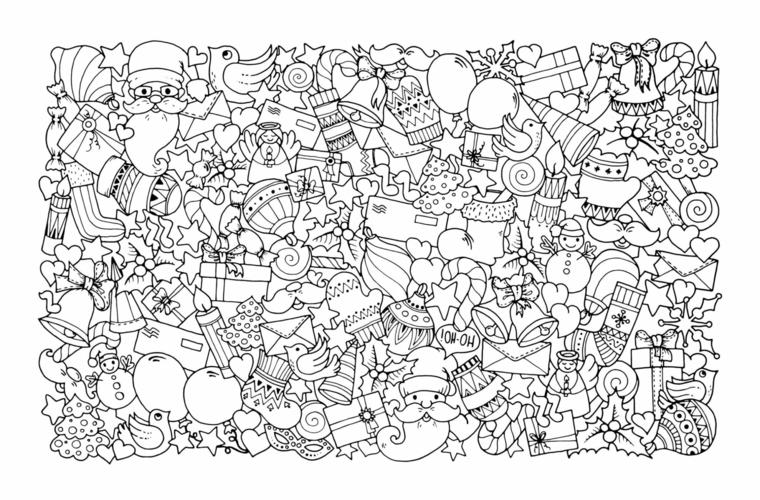 Disegno con ornamenti da stampare, renna da colorare, disegno di addobbi natalizi