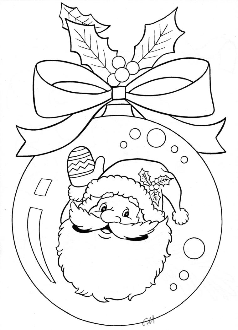 Disegni di Babbo Natale da colorare, pallina natalizia con fiocco e bacche