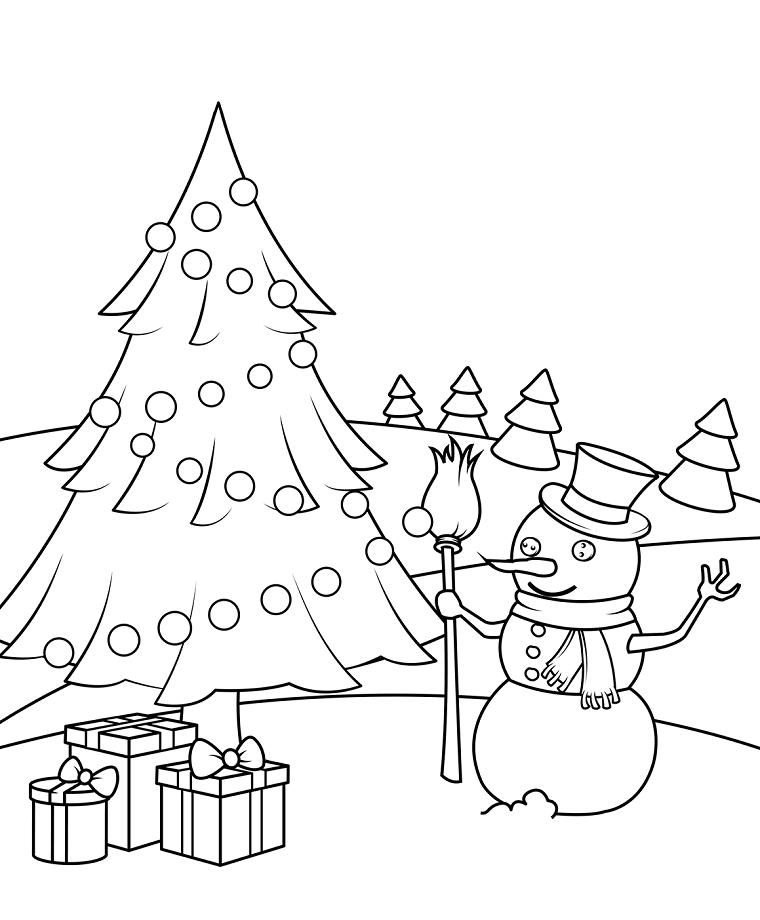 Immagini natalizie da stampare, albero addobbato con palline, pupazzo di neve con scopa in mano, regali incartati