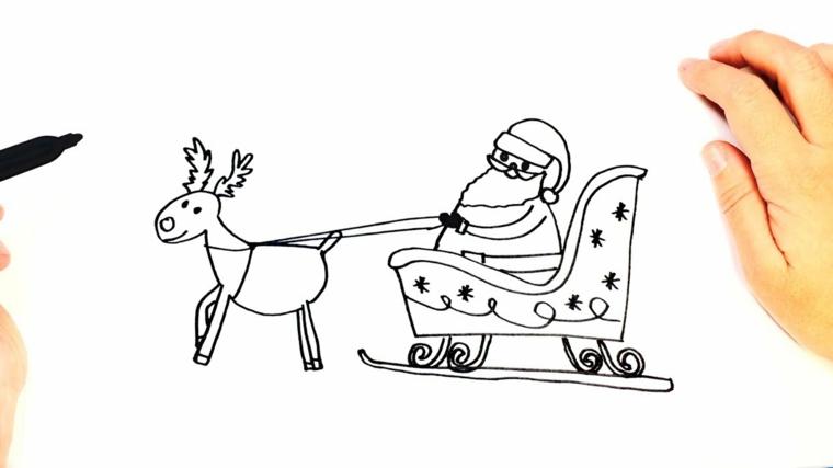 Babbo Natale con la slitta, disegno di una renna che tira la slitta
