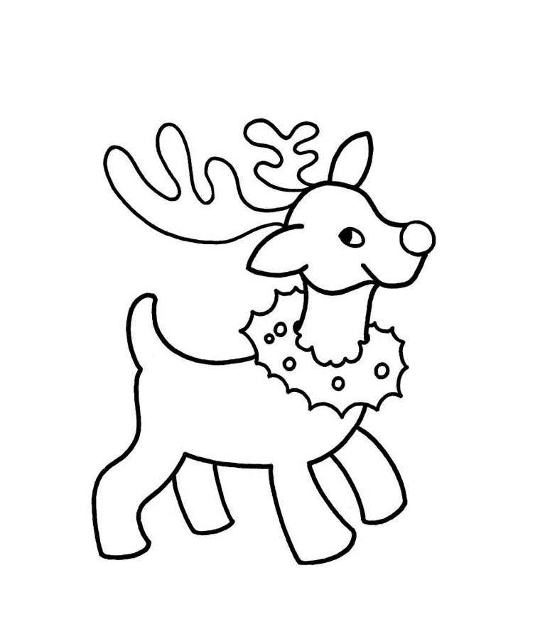 Renna da colorare, animale con ghirlanda intorno al collo, disegno a matita