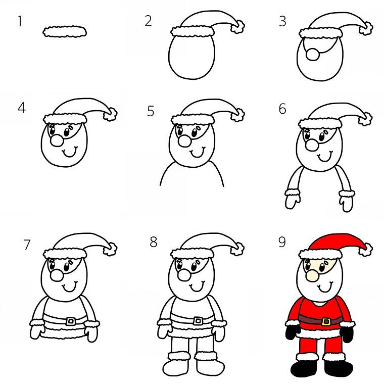 Babbo Natale con barba e cappello, disegni da stampare, tutorial con spiegazione per il disegno