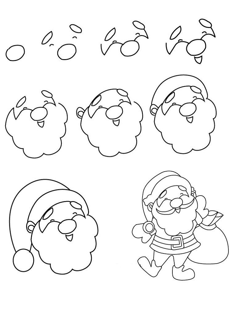 Disegnare Babbo Natale, viso con barba e cappello, immagini natalizie da colorare
