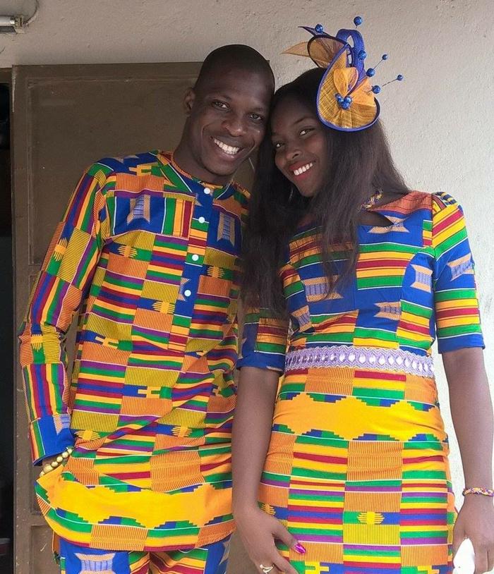 Abiti africani per uomo e donna, stoffe colorate di giallo, accessorio per capelli abbinato