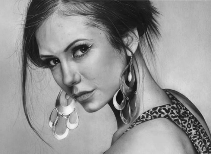 L'attrice Nina Dobrev, disegno a matita semplici, ragazza con capelli legati
