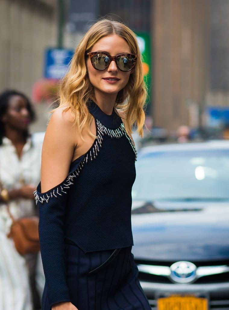 L'acconciatura di Olivia Palermo, pettinature per cerimonie, ragazza con occhiali da sole