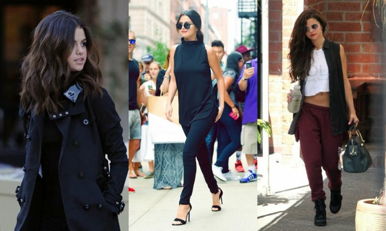 Selena Gomez con capelli castani, capelli lunghi e ricci, abbigliamento casual