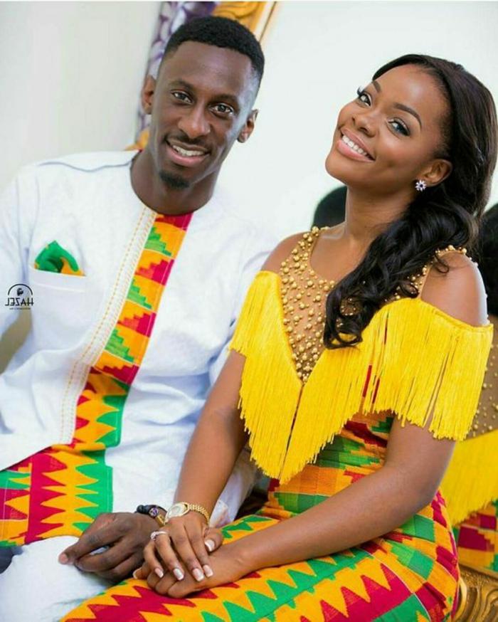 Stoffe africane per uomo e donna, abito con stampe geometriche, ragazza con capelli ricci