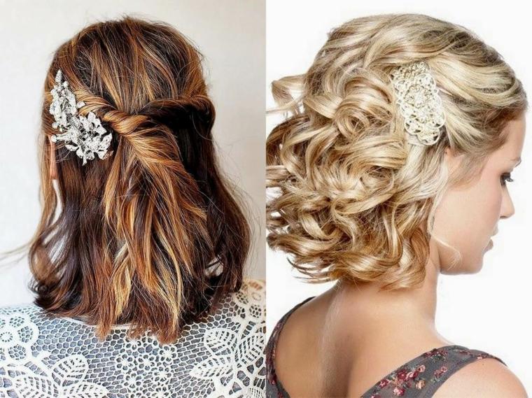 Acconciature sposa capelli medi, ragazza con capelli biondi, colorazione colpi di sole