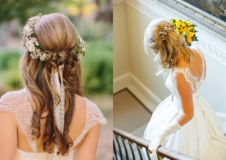 Acconciature sposa capelli medi, ragazza con capelli biondi, pettinatura con accessori