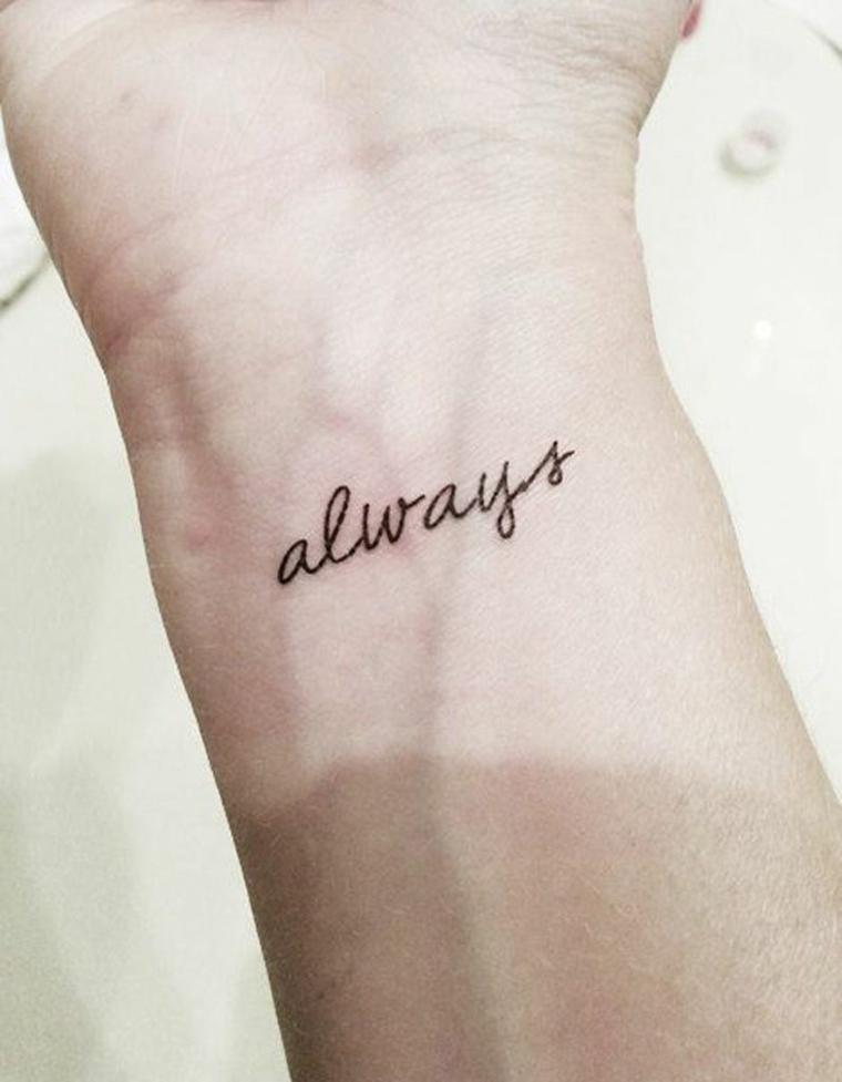 Tatuaggi piccoli scritte, idea tattoo scritta in inglese, tatuaggio sul polso