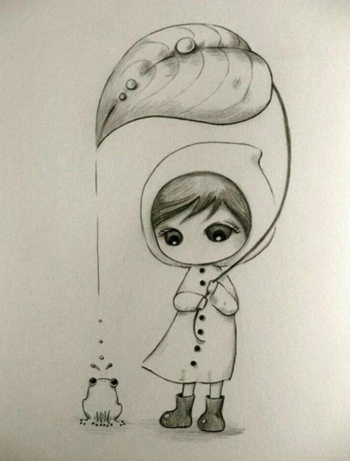 Disegni a matita facili ma belli, disegno di una bambina, foglia che annaffia una rana