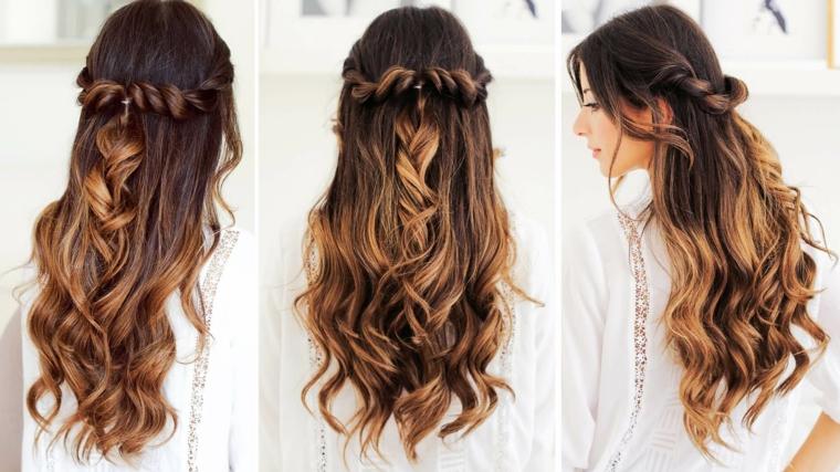 Capelli balayage con treccia, treccia a corona, capelli lunghi e mossi