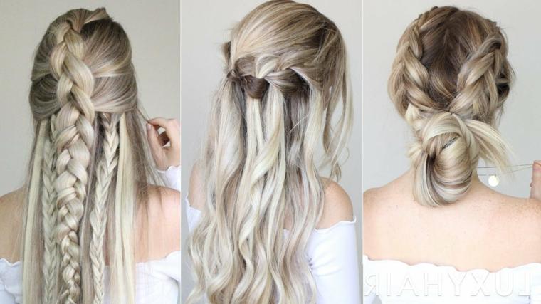 Tre acconciature donna, capelli biondo ghiaccio, acconciatura con treccia