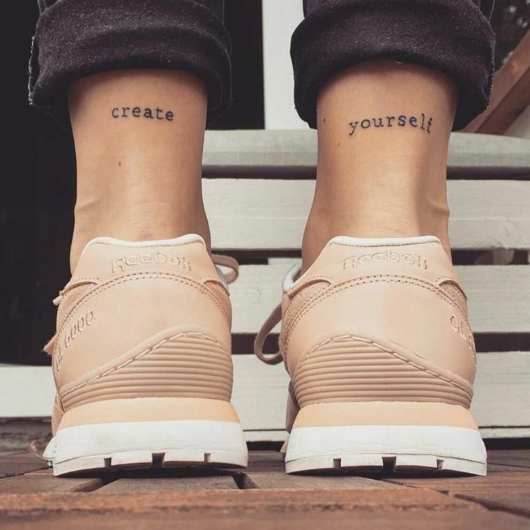 Create yourself tatuaggio, scritte tattoo, tatuaggio sulla caviglia