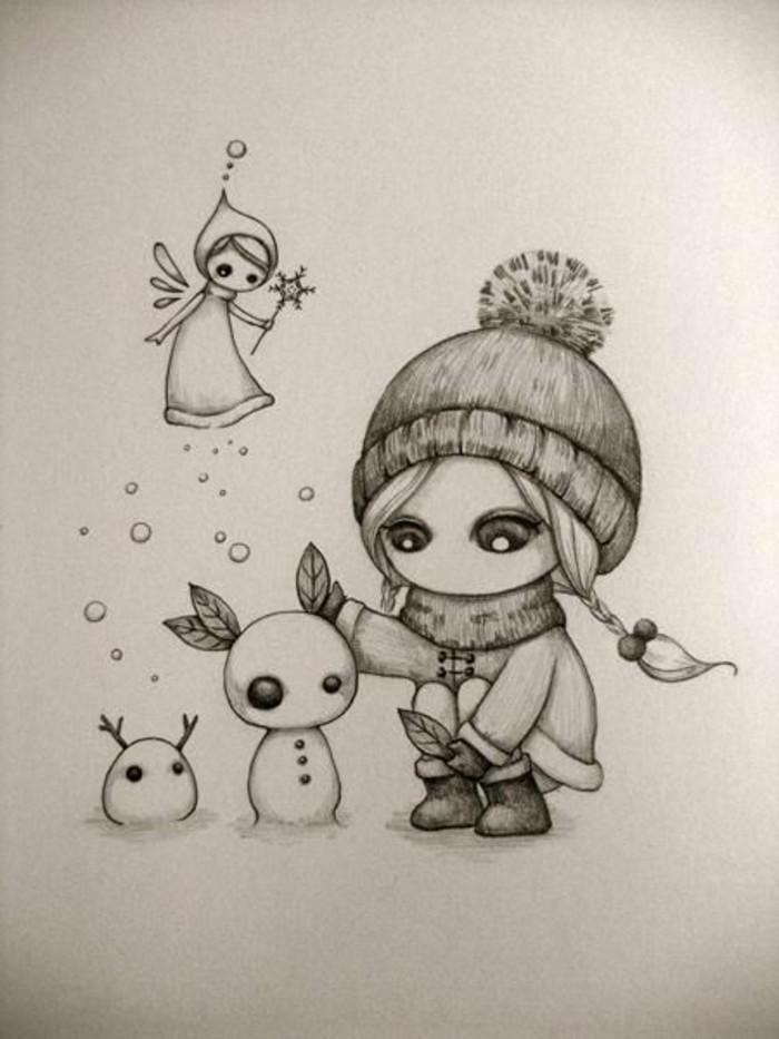 Disegni a matita facili, bambina con capello, pupazzi di neve con orecchi di foglie