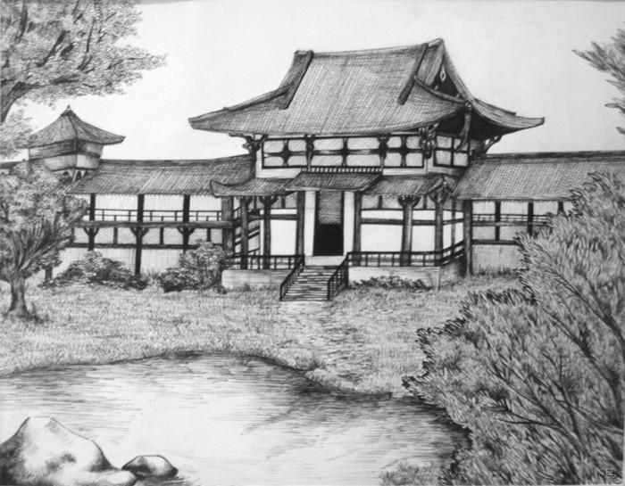 Disegni a matita semplici, casa di campagna, disegno di una casa