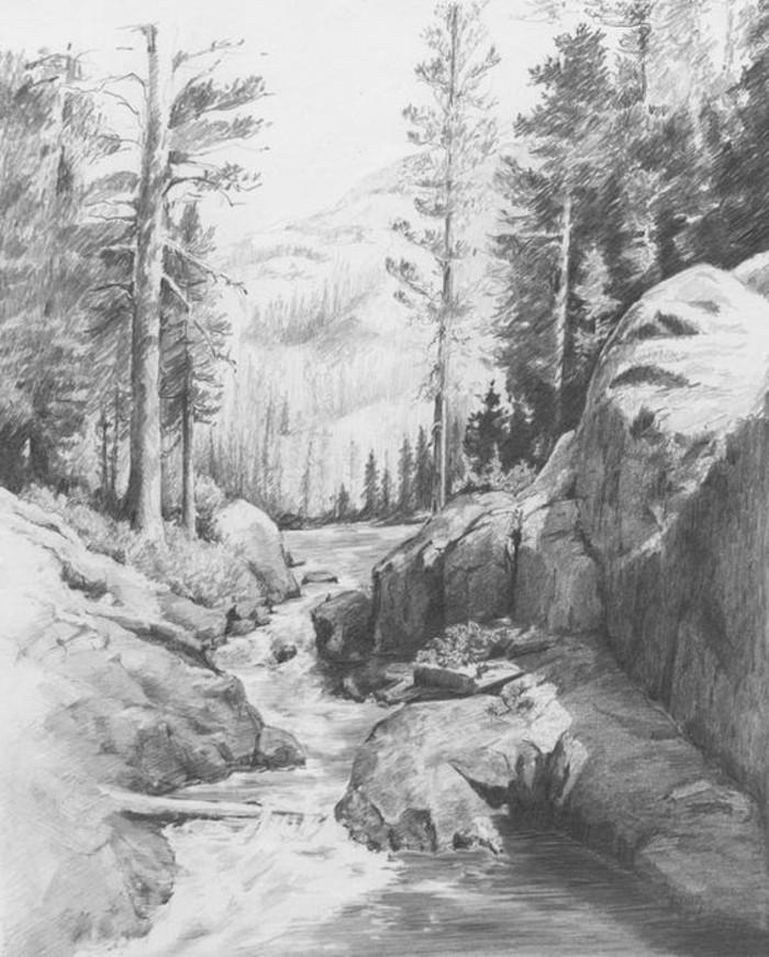 Idea per disegni a matita facili, disegno di una foresta, foresta con alberi e rocce