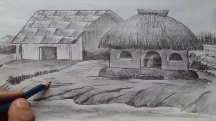 Disegnare con la matita, disegno di capanne di paglia, paesaggio di campagna