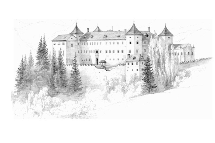 Disegnare con la matita, disegno di un castello, foresta con alberi