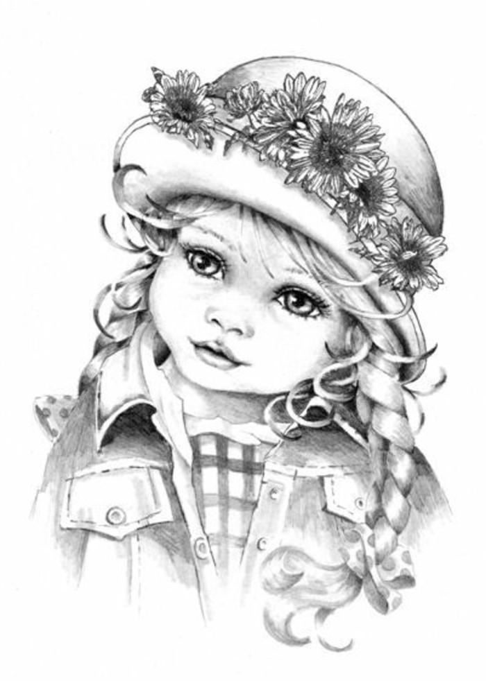 Bambina con un capello, ritratti a matita, bambina con treccia laterale