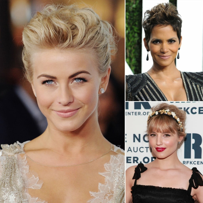 Acconciature capelli semiraccolti, tre donne famose con i capelli corti, decorazione pettinatura con cerchietto